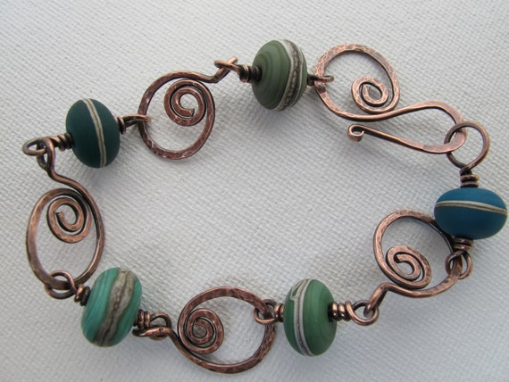 Copper Swirl with Blues and Greens Bracelet