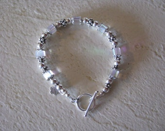 Crystal Cube and Sterling Silver Bracelet