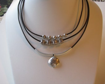 Silver and Leather 3-Strand Necklace