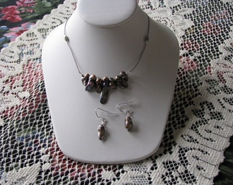 Brown Freshwater Pearl Cord Necklace & Earrings