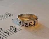 Muse Ring, music ring, music jewelry, musical ring, music note ring, musican ring, musican gift,  handstamped ring, hand stamped ring