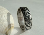 Flower patterned ring sterling silver wide band floral