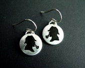 Custom personalized Sherlock Holmes earrings sterling silver disk etched