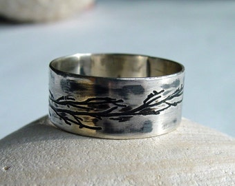 Tree branch ring, tree of life ring, tree branch ring, personalized ring, branch jewelry, wedding ring, sterling, etched inside and outside