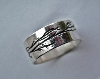 Custom personalized Tree Branch ring sterling silver etched U