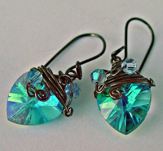 Green teal blue swarovski crystal heart  earrings oxidated sterling silver