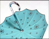 RESERVED for Julia 1 - Mid Century Cake Stand, Midwinter Stylecraft Atomic Aqua Silver Umbrella Cake Stand 1959