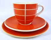Retro Orange Trio, Mid Century Modern German Wachtersbach Hot Orange and White Geometric Checkered Lined Cup Saucer & Teaplate 1950s
