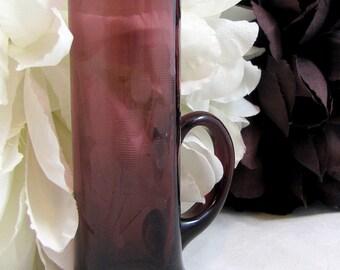 REDUCED: Czech Amethyst Glass, Art Deco Era Bohemian Czech Purple Amethyst Flower Etched Handled Liqueur Glass 1930s