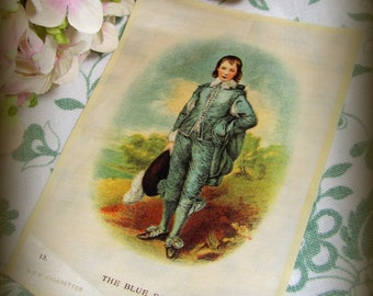REDUCED Antique Silk Painting, Art Deco Era Gainsborough's Portrait The Blue Boy BDV Tobacco Collectable Series Lge Silks Old Masters 1920s