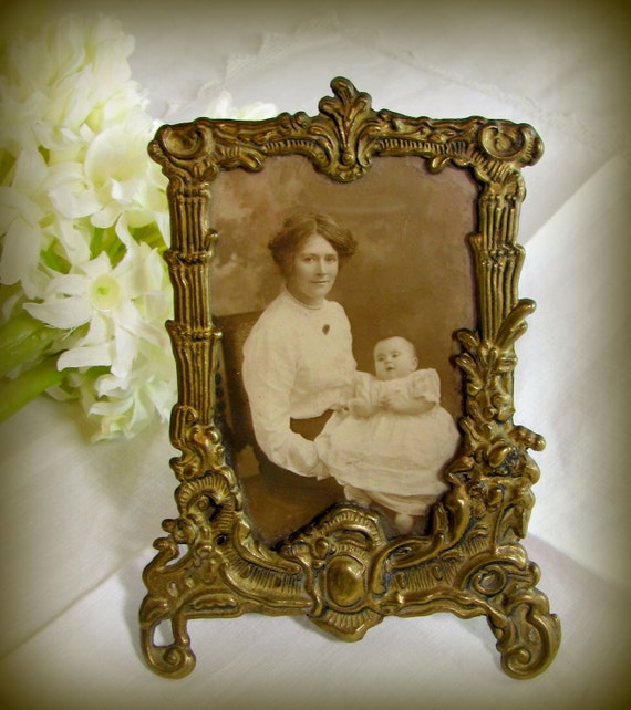 Art Nouveau Picture Frame Ornate Vintage Solid Brass Photo