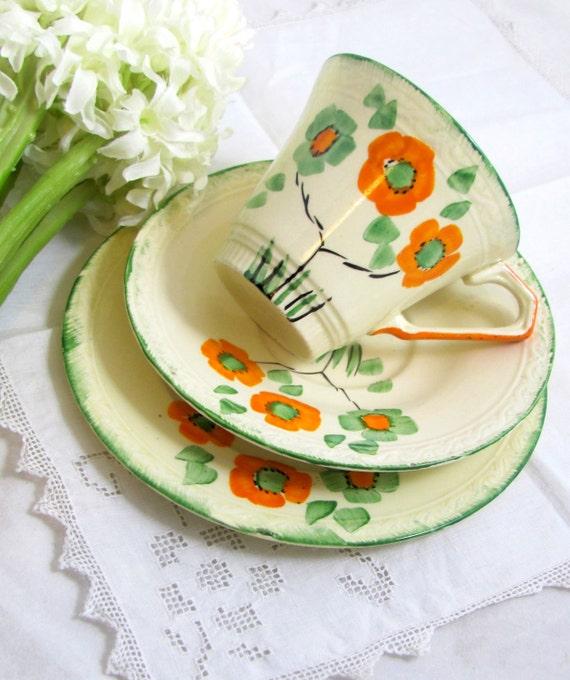 Art Deco Trio, Hand-painted Orange & Spring Green Nasturtium Flowers Meakin Staffordshire Sunshine Cup Saucer Plate Trio 1940s