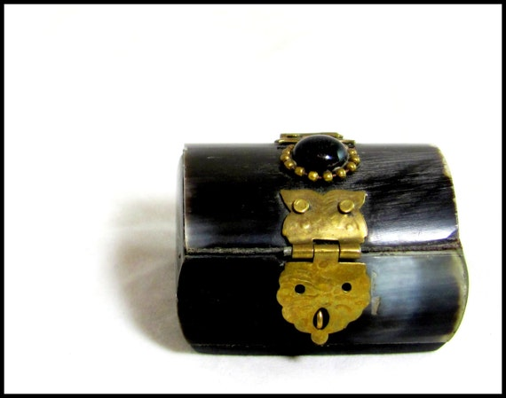Vintage Oxbone Box, Antique Indian Brass & Ox Bone Miniature Hinged Lidded Trinket Pill Box 1930s
