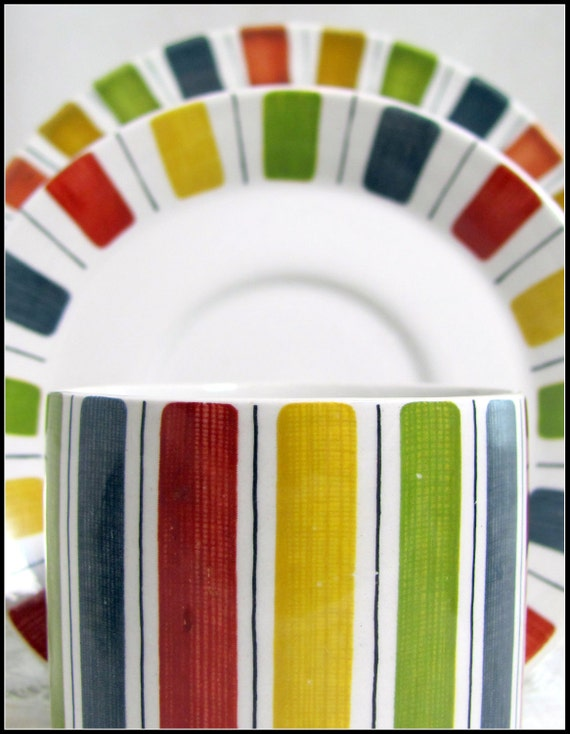 Mid Century Mexicana Trio, Retro Midwinter Striped Candy Cane Rainbow Banded Coffee Cup, Saucer, Teaplate Trio Set 1960s