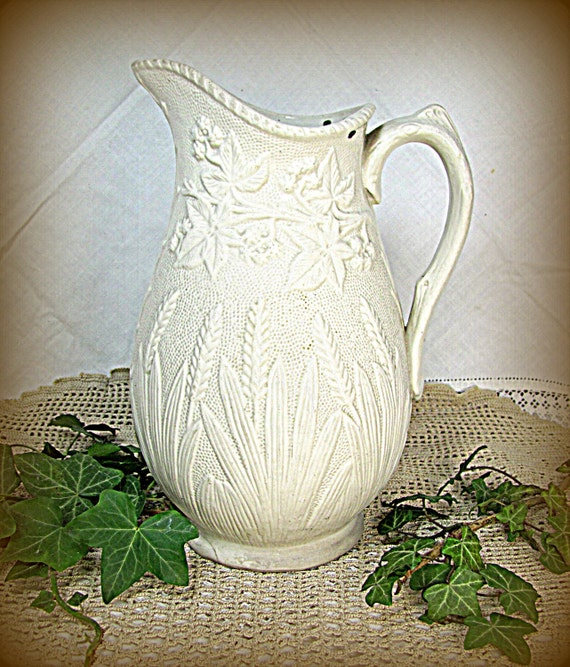 REDUCED: Victorian Stoneware Jug, Relief-Moulded 19th Century Cream Plantain & Ivy Stoneware Water Jug Pitcher 1850s