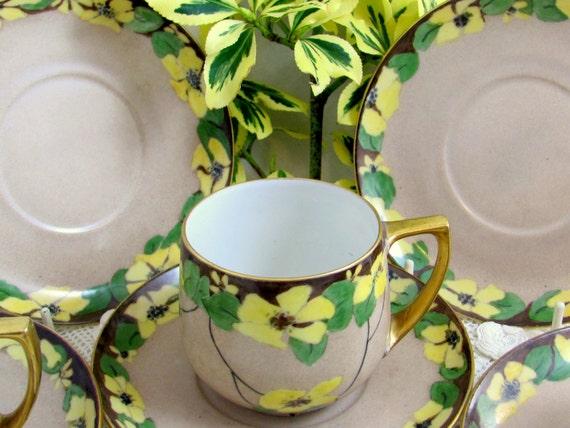 REDUCED Art Deco Teaset, Antique Handpainted Buttercup Teaset, Hutschenreuther MZ Altrohlau Czech Porcelain Demitasse Cups/Saucers 1930