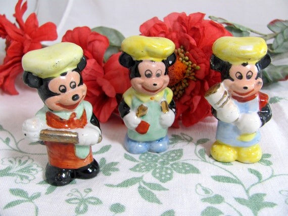 REDUCED Vintage Mickey Mouses, Set 3 Shabby Chic Art Deco Mickey Mouse Ceramic Chef Cook Figurines, Japanese 1930s-40s