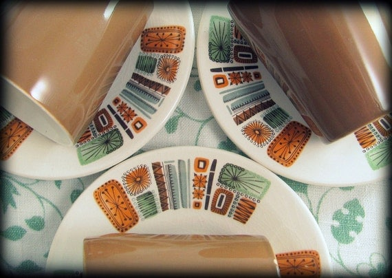 4 Mid Century Duos, Retro Palissy Aztec Coffee Brown Sage Atomic Starburst Demitasse Cups & Saucers 1960s