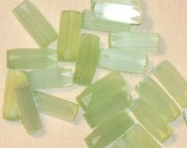 lime GREEN vintage satin glass BEADS GERMAN tubes 40's 10mm