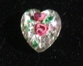 1940s Czech lampwork ROSE HEART Glass cabochon 14mm foil