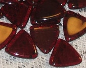 GARNET RED 10mm triangle flag smooth vintage Czech Glass BEADS (12)