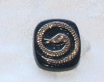Vintage GLASS cabochon German no-hole stone jet black BRONZE snake
