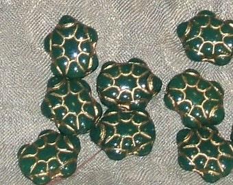 GREEN turtles Czech glass BEADS 15x13 vintage gold