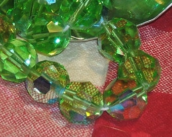 1940s GREEN antique glass beads AUSTRIAN crystal GREEN ab