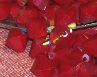 Vintage Glass Beads 1940s RED rainbow antique AUSTRIAN crystal bicones