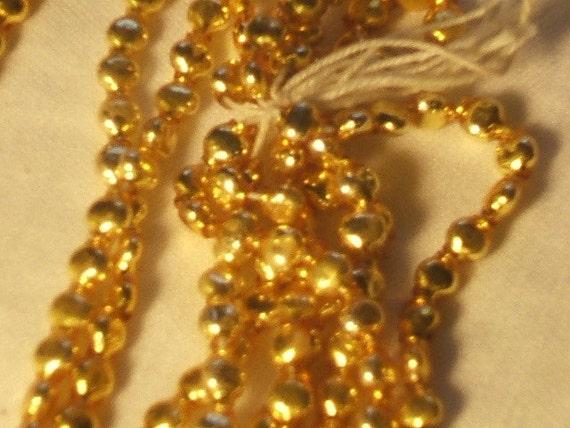 Vintage GLASS beads RARE Japan Hollow GOLD urn shape 24 xmas ornament
