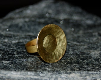 Large Brass Crater Ring