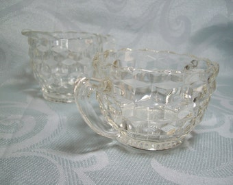 Fostoria American Sugar and Creamer Set