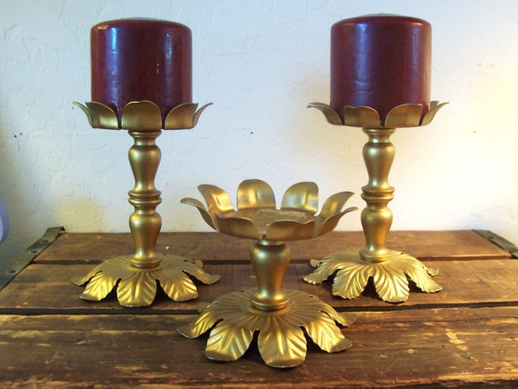 Gold Tone Metal Candle Holders