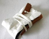 Leather Bag - Warm Honey - weathered leather pouch with leather strap wrap closure