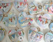 Mini He'Art' Plaque  - Wooden Heart with Vintage Embellishments & Bunting