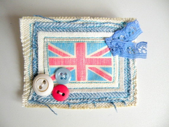 Union Jack Textile Brooch - Red White and Blue