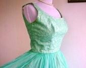 SALE Vintage 1950s Mint Green Party Dress