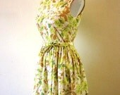 Reserved The Betty- Vintage 1960s Spring Green Floral Garden Party Dress