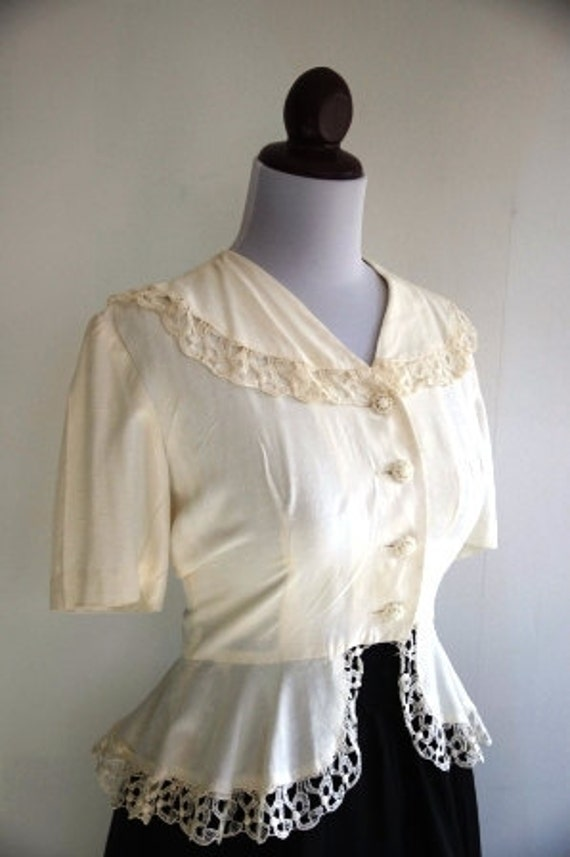 Reserved SALE Vintage 1940s Lace Peplum Blouse