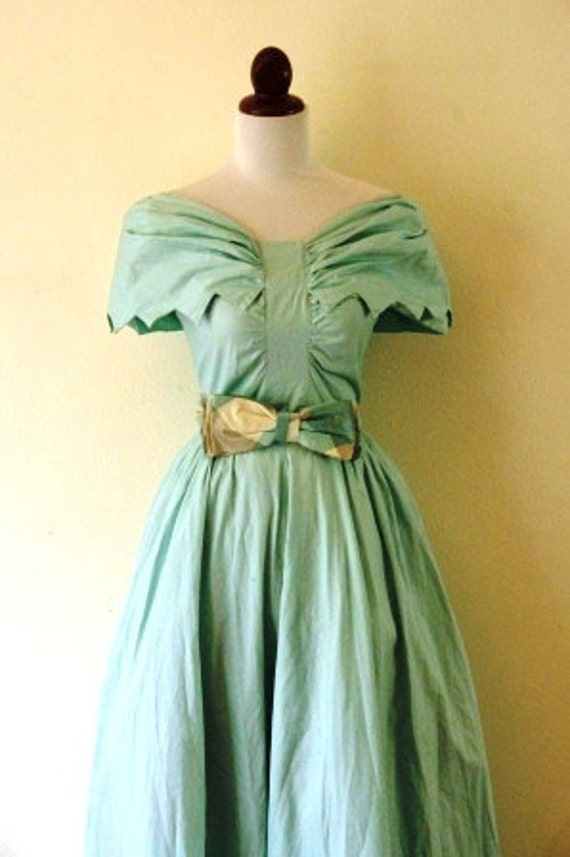 Reserved Vintage 1950s Pale Sky Blue Summer Dance Dress