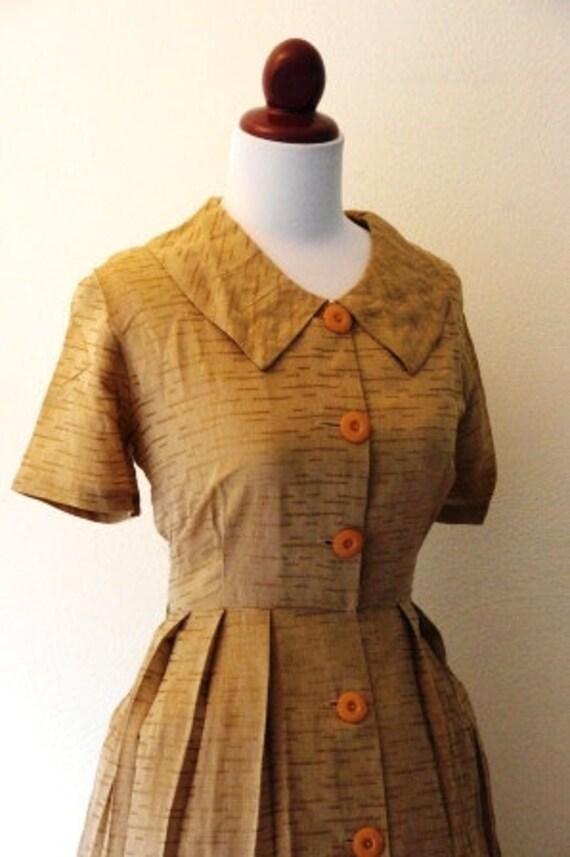 Reserved Vintage 1950s Brown Peter Pan Collar Dress