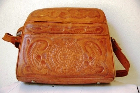 Vintage 1960s Aztec Pattern Hand Tooled Leather Purse