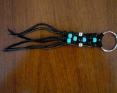Vintage '70s SOUTHWESTERN Style Black LEATHER TASSEL Keychain with Silver, Black, and Turquoise Beads