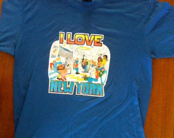 "Vintage '70s Glitter Heat Transfer Iron On Style ""I love New York"" tshirt Size Medium"