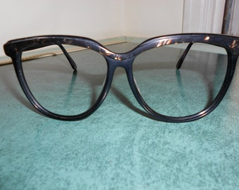 Vintage '80s Black and Mother of Pearl SEXY LIBRARIAN Eye Glass Frames