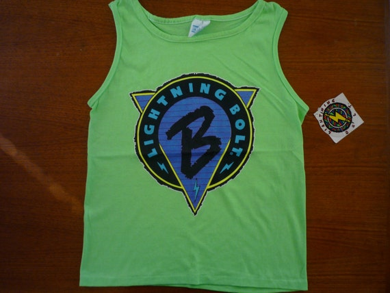 Vintage '80s Green Neon LIGHTNING BOLT Tank Top size Small Deadstock w/ sticker tags NWT