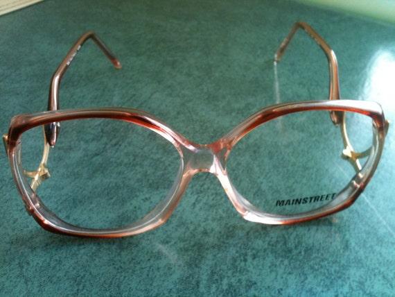 Vintage '80s Smoky Rose SEXY SECRETARY Mainstreet Eye Glass Frames w/ Gold Accents