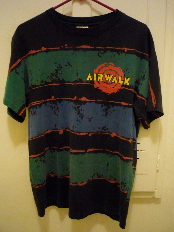Vintage Early '90s AIRWALK T Shirt with Splatter Paint and Spiral Graphic