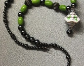 Dice Necklace in green and deep silver - d10 (Dungeons and Dragons)
