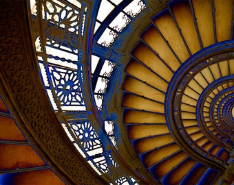 Beautiful Abstract Spiral Pattern Staircase Photo at The Rookery Chicago Signed Fine Art Photography Print